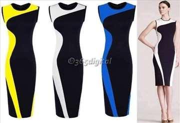 105) Prelepa dvobojna haljina više boja
