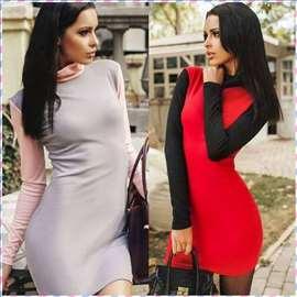 145) Prelepa dvobojna pamučna haljina VIŠE BOJA
