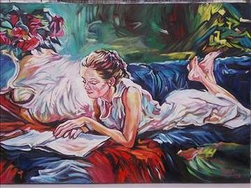"""""""Čitajući poeziju 2"""" slika, ulje na platnu"""