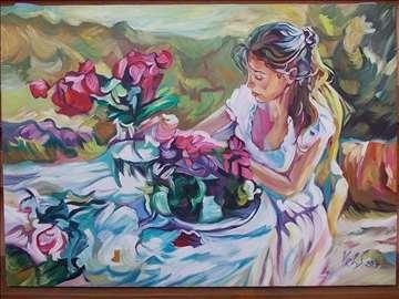 """""""Dama i cveće"""" slika, ulje na platnu"""