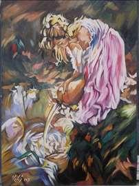 """""""Devojka sa krčagom"""" slika, ulje na platnu"""