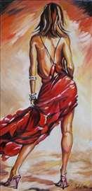 """""""Devojka u crvenom 1"""" slika, ulje na platnu"""