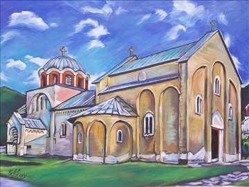 """""""Manastir Studenica"""" slika, ulje na platnu"""