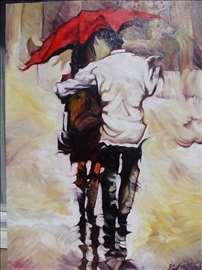 """""""Par na kiši 3"""" slika, ulje na platnu"""
