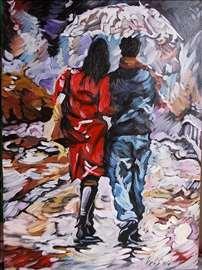 """""""Par na kiši"""" slika, ulje na platnu"""