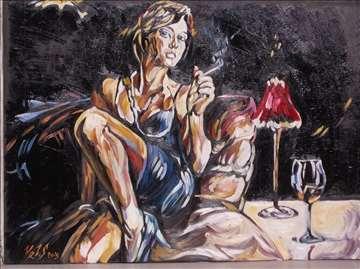 """""""Razmišljanje"""" slika, ulje na platnu"""