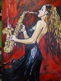 """""""Saksofonistkinja"""" slika, ulje na platnu"""