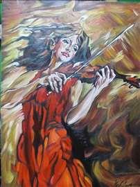 """""""Violinistkinja"""" slika, ulje na platnu"""