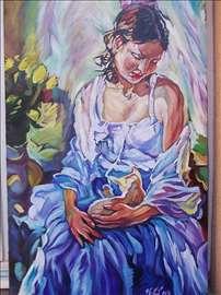 """""""Žena sa macom"""" slika, ulje na platnu"""