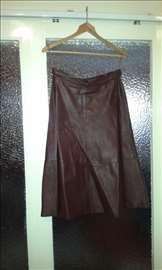 Ženska kožna suknja bordo