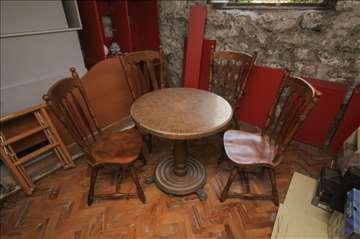 Masivne stolice od punog drveta + klub stočić