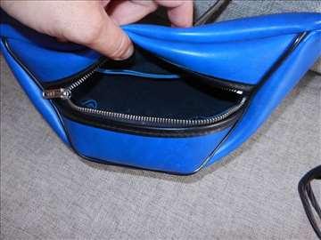 Kožna plava torba, novčanik 30x10x10cm za novac