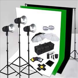 750W FOTO STUDIO Set + 3 pozadine