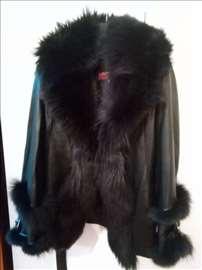 Zenska kozna jakna sa krznom