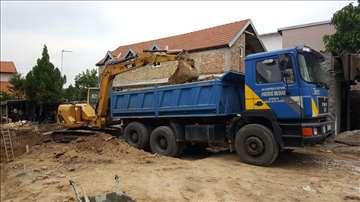 Razbijanje betona čekicem, iskop zemlj, planiranje