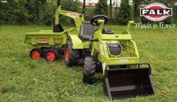 Traktor na pedale claas sa dve kašike i prikolicom