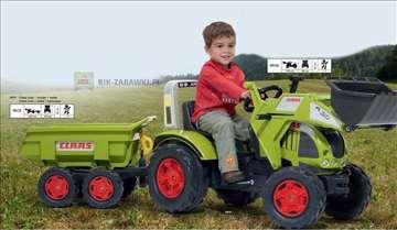 Traktor na pedale Claas sa kašikom i prikolicom