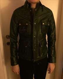 Ženska kožna zelena jakna vel. 34, nova