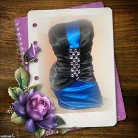 Kraljevsko plava satenska top haljina + dijamanti