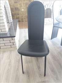 Trpezarijske stolice, koža, 6 kom