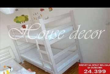 Krevet na sprat beli bajc sa 2 dušeka