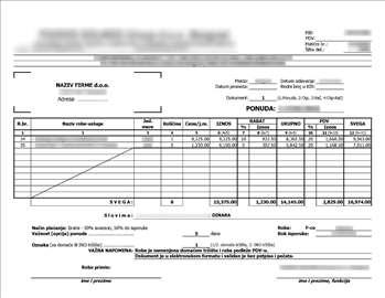 Excel forma za brzo formiranje dokumenata