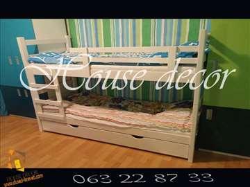 Beli krevet na sprat sa 2 dušeka i fiokom