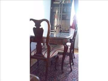 Stilski sto sa 6 stolica i zaštitnim staklom