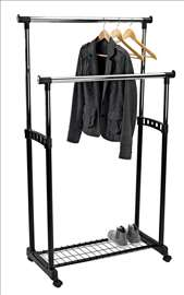 Dupli metalni držač za odeću sa policom