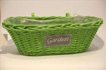 Pletena korpa sa natpisom Garden zelena