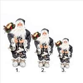 Veliki Deda Mraz u sivom odelu sa poklonima