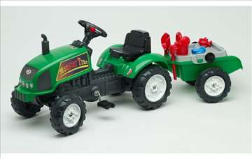 Traktor na pedale sa prikolicom i setom za bastu
