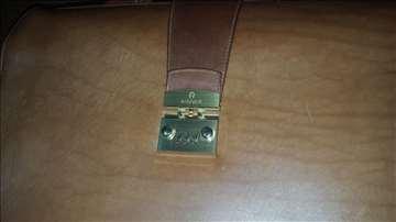 Kožna braon torba Aigner