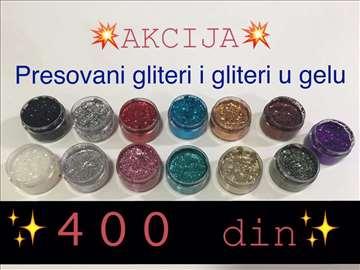 Presovani i gel gliteri za šminkanje
