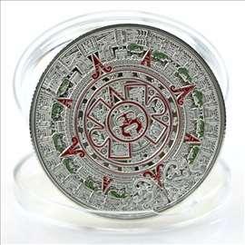 Aztec kalendar - posrebra+emajl 40 mm