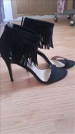 Crne sandale od antilopa,  sa resicama, novo, br41