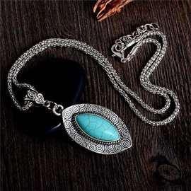 LIST - ogrlica sa tirkizom, antičko srebro!