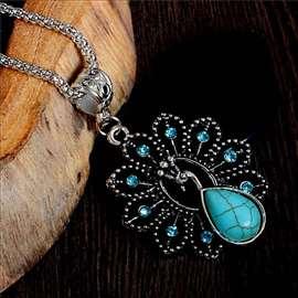 PAUN - ogrlica sa tirkizom, antičko srebro!
