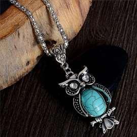 SOVA - ogrlica sa tirkizom, antičko srebro!