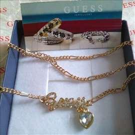 Guess pozlacena ogrlica sa Swarovski kristalom