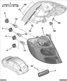 Citroen C3 Pluriel Stop Svetlo Desno, NOVO