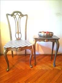 Ručno rađeni stolica i stočić