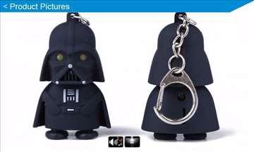 Darht Vader privezak - lampica sa zvučnim efektima
