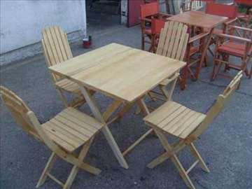 Set- bukovo drvo, okruglog ili četvrtastog stola