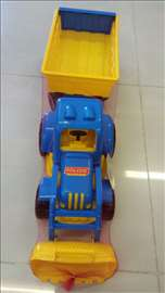 Traktor-bager sa prikolicom plavi