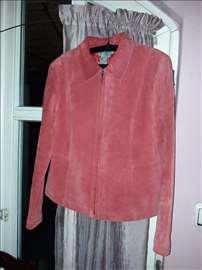 Zagasitocrvena jakna od prirodne kože brendirana