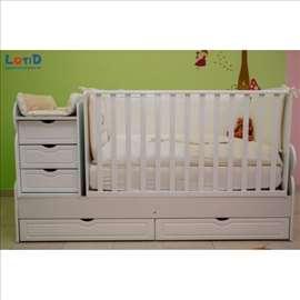 Krevetac za bebe 3 u 1 Meda beli sa dušekom
