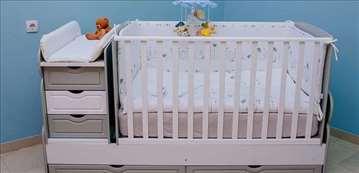 Krevetac za bebe 3 u 1 Meda sivo beli