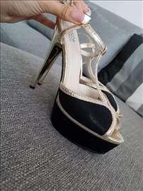 Crno zlatne sandale