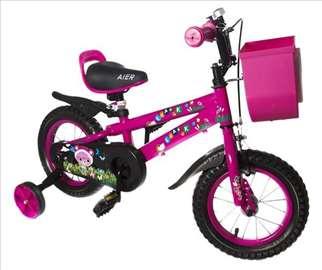 Dečiji bicikl sa pomoćnim točkovima roze